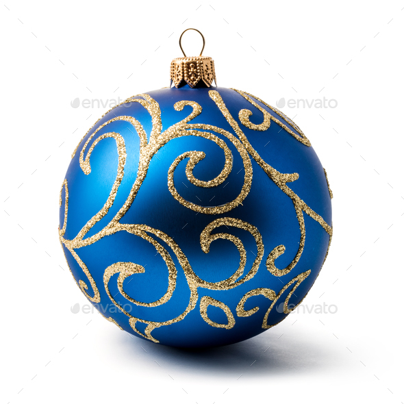 blue christmas ball - Stock Photo - Images