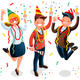 New Year Bash People Celebrating Party Illustration - GraphicRiver Item for Sale