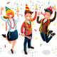 New Year Bash People Celebrating Party Illustration