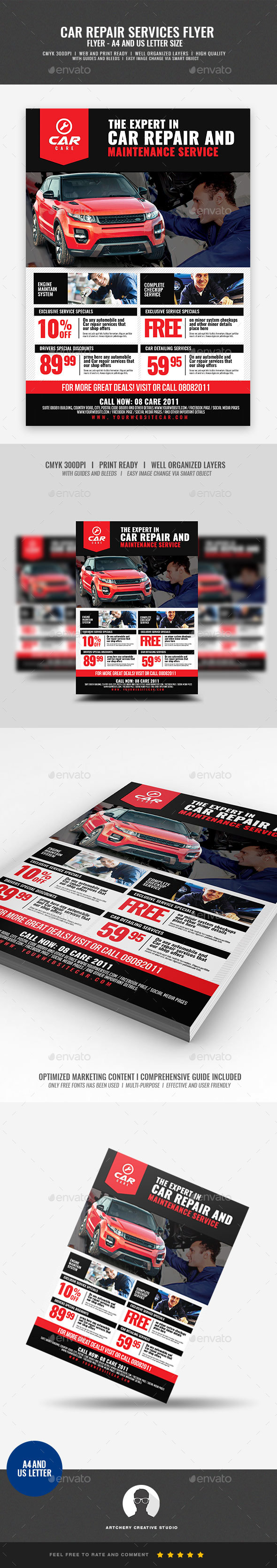 GraphicRiver Car Repair and Maintenance Flyer 21026588