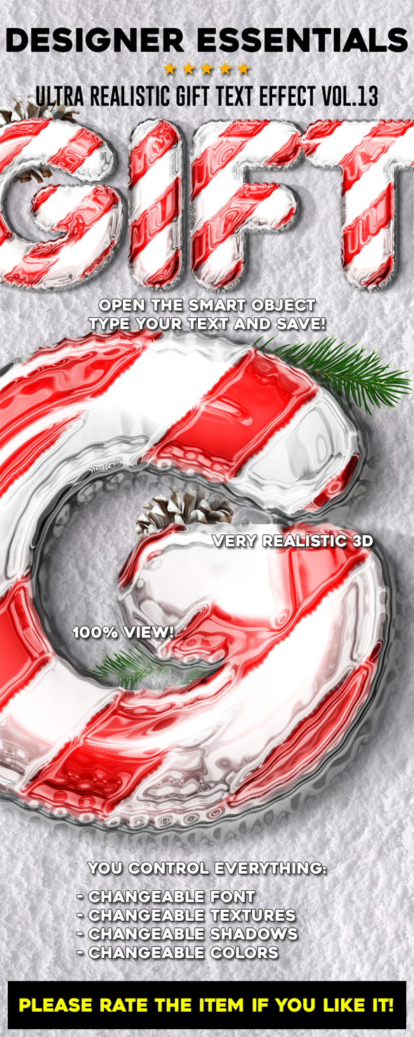 GraphicRiver Designer Essentials Ultra Realistic Gift Text Effect Vol.13 21045911