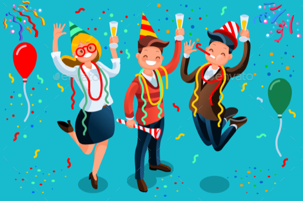 People Celebrating Party New Year Bash Illustration - Vectors