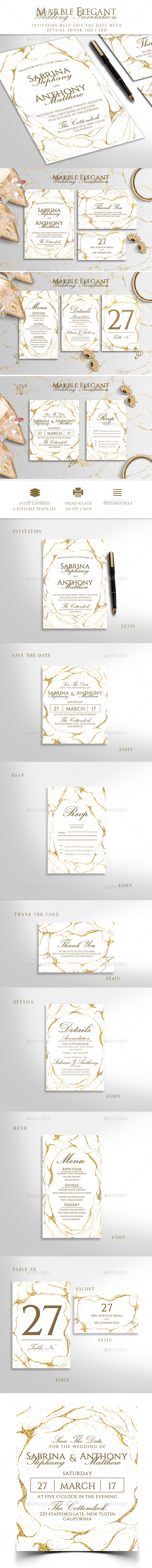 Marble Wedding Invitation - Invitations Cards & Invites