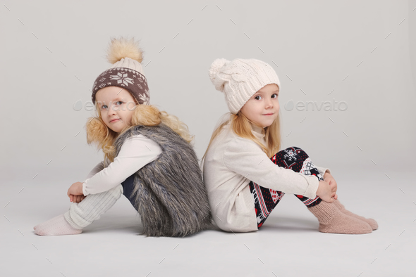 two beautiful girls on white background - Stock Photo - Images