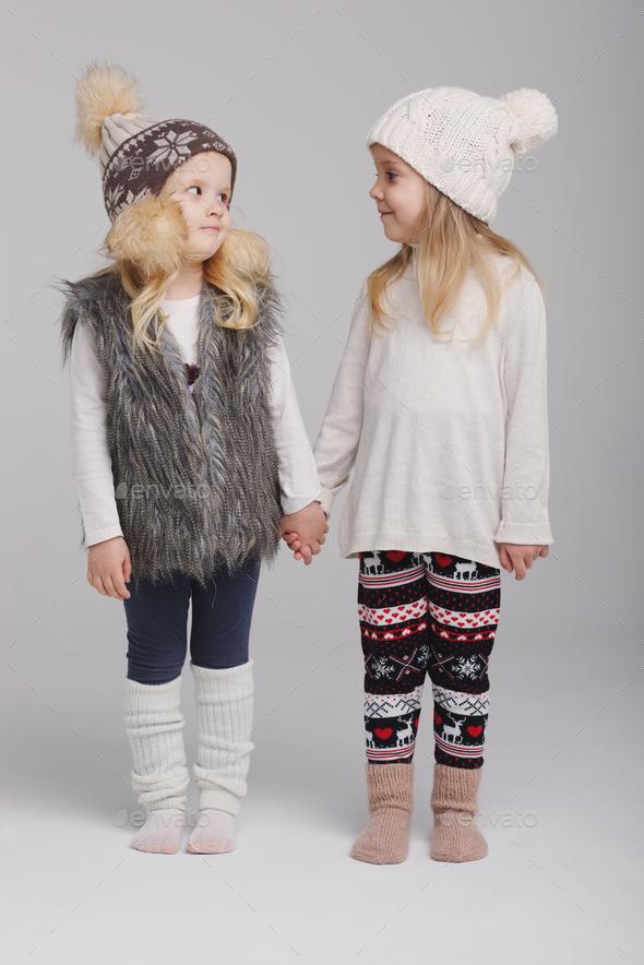two beautiful girls on white background - Stock Photo - Images