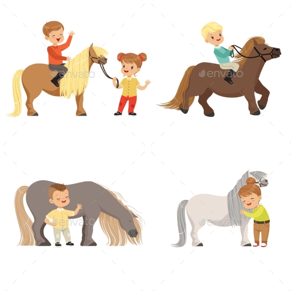 Kids Riding Ponies - Sports/Activity Conceptual
