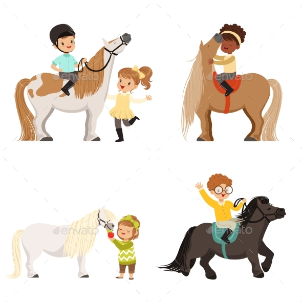 GraphicRiver Children Riding Ponies 21046089