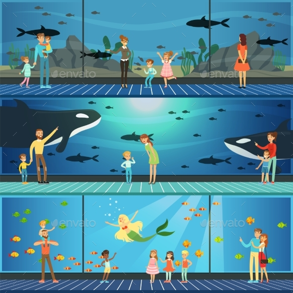 GraphicRiver People Visiting an Oceanarium Set of Vector 21046103