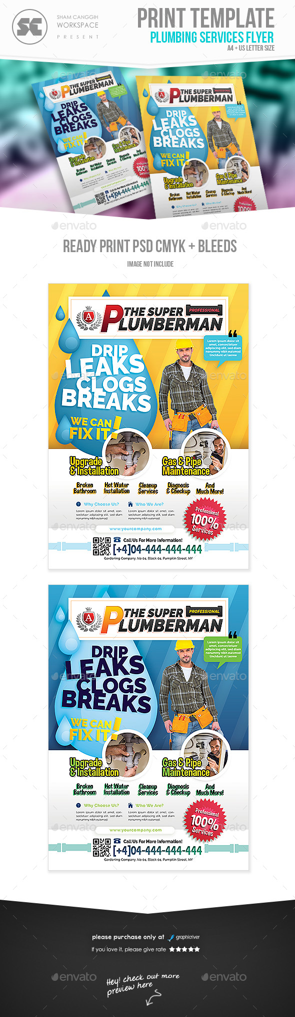 GraphicRiver Plumbing Service Flyer 21046390