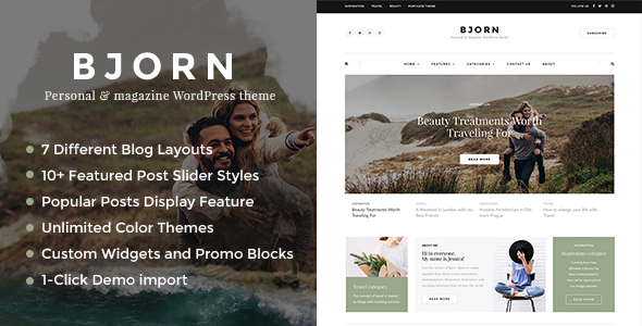 Bjorn - Personal WordPress Blog Theme - Personal Blog / Magazine