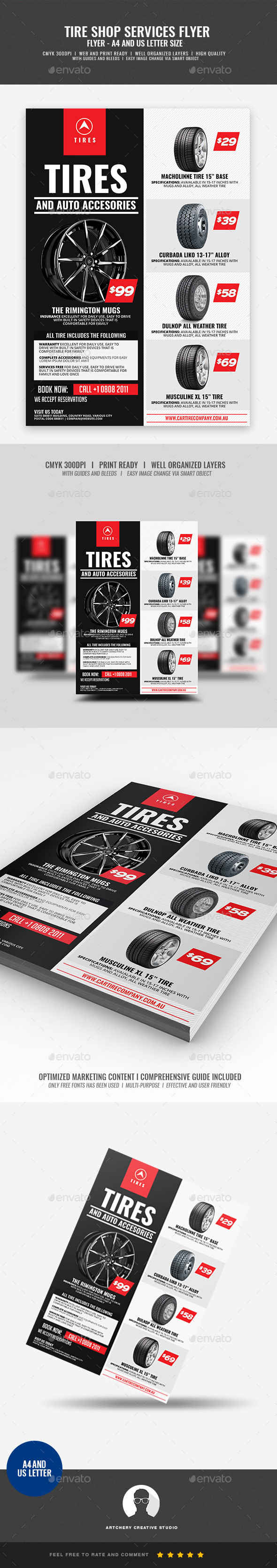GraphicRiver Tire Shop and Accessories Flyer 21046418