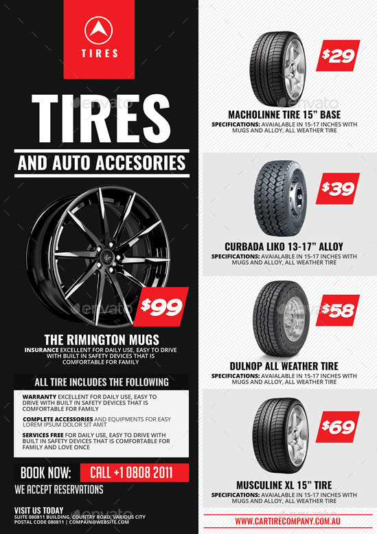 tire shop and accessories flyer by artchery
