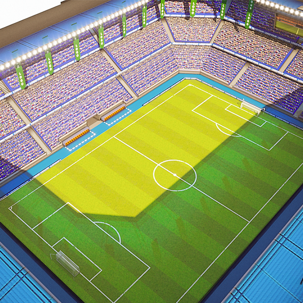 3DOcean Football Soccer stadium game ready 3D model 21046542