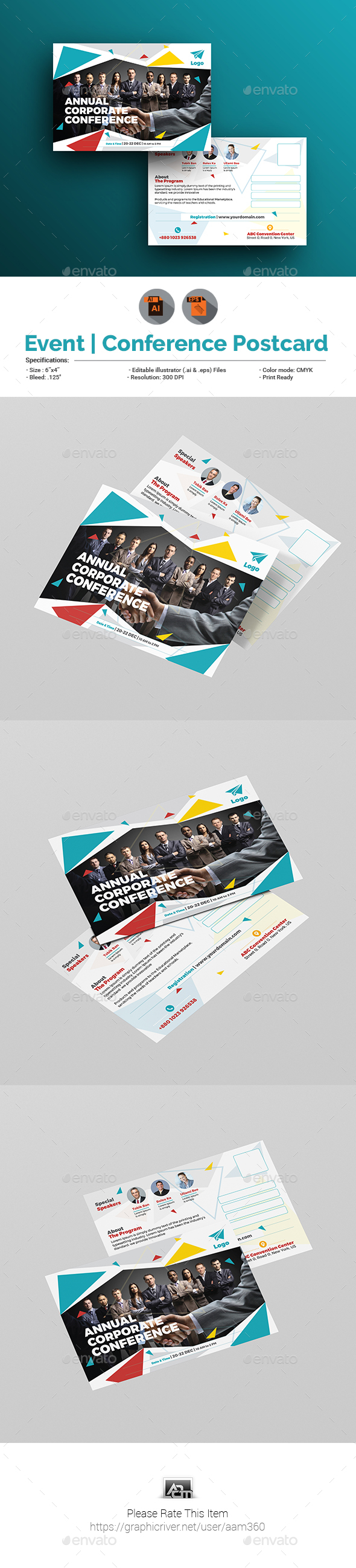 GraphicRiver Event Summit Conference Postcard Template 21046618