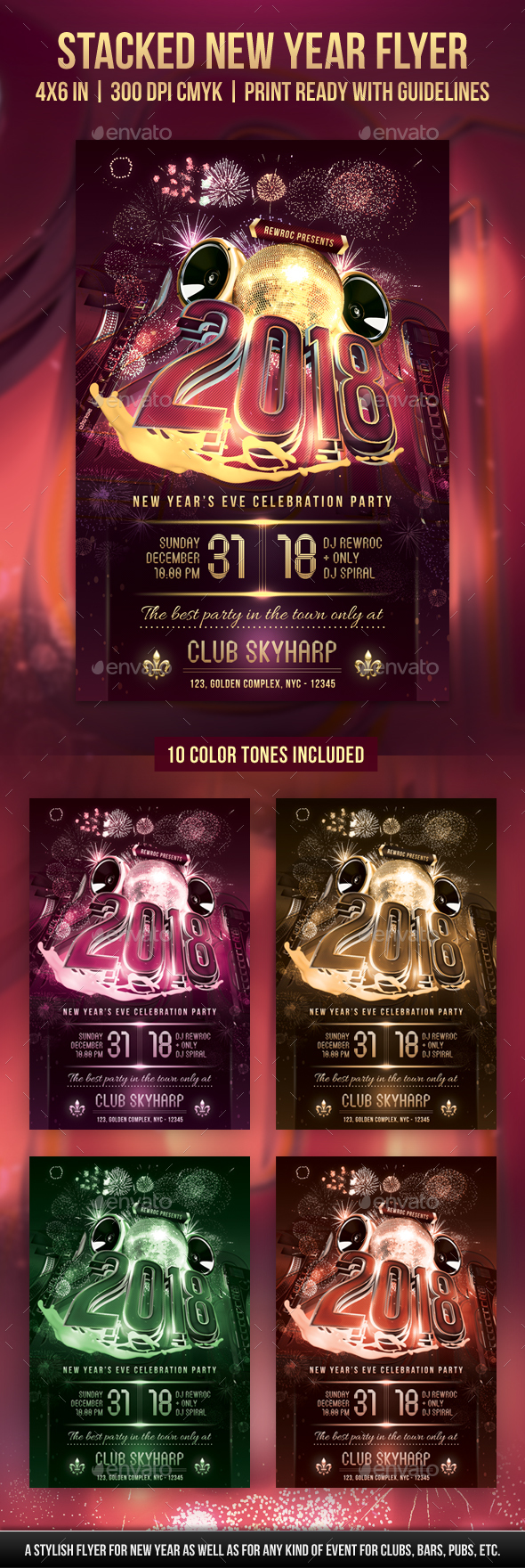 Stacked New Year Flyer - Holidays Events