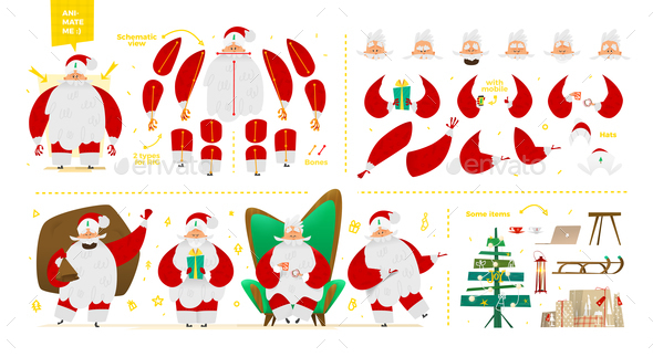 GraphicRiver Santa Claus Character Set for Animation and Motion Design 21046765