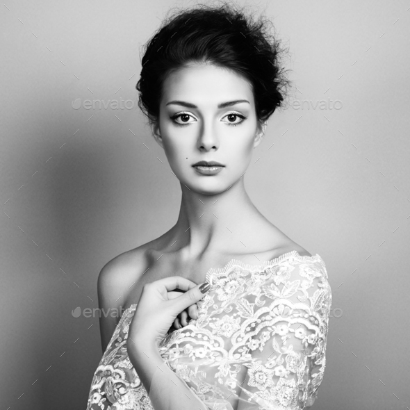 Photo of beautiful young woman. Vintage style - Stock Photo - Images