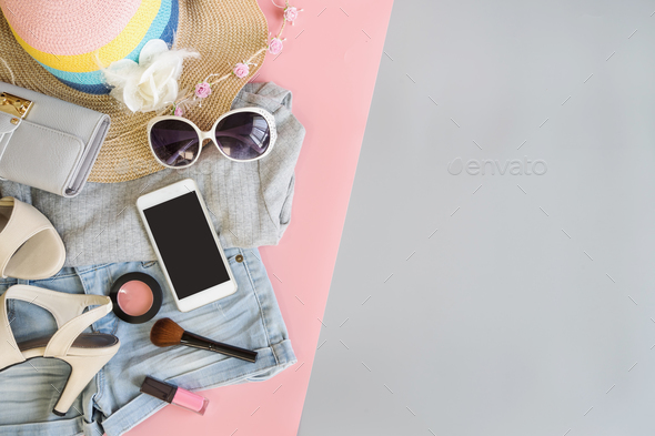 Fashion summer women clothes set with cosmetics and accessories - Stock Photo - Images