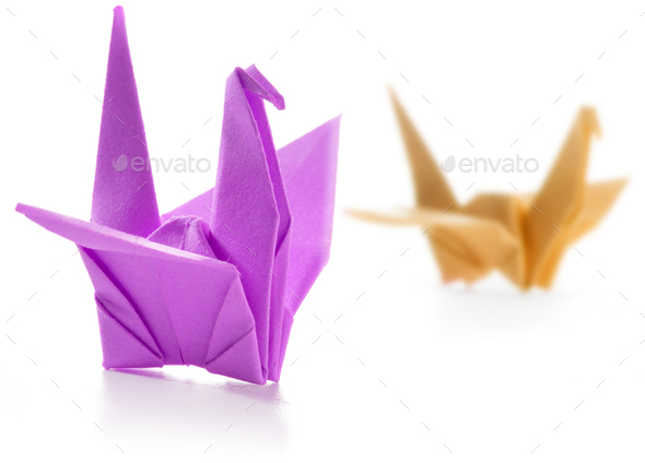 pair of colorful origami swans isolated on white - Stock Photo - Images