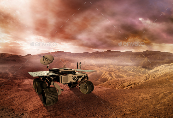 mars rover exploring the red planet surface, 3d illustration - Stock Photo - Images