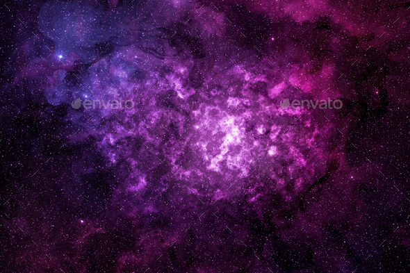 purple nebula and glowing cosmic dust in outer space - Stock Photo - Images