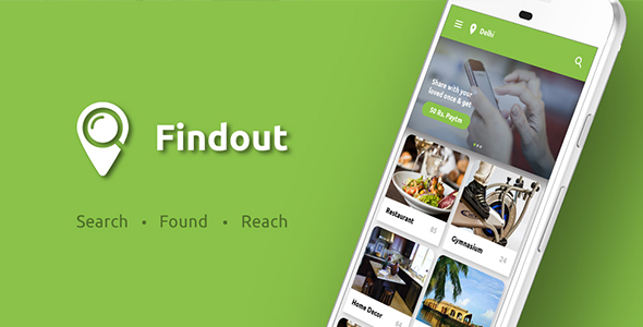 Place Finder, Places Nearby, like Restaurant and all Service Finder Android App Template : Findout - CodeCanyon Item for Sale