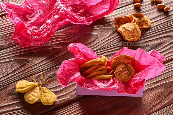 Dried fruits on wooden background - Stock Photo - Images