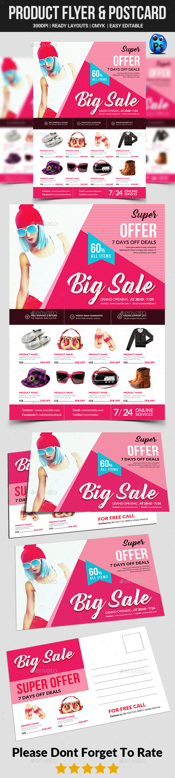 Product Promotion Flyer & Postcard - Commerce Flyers