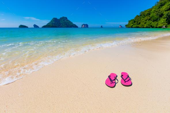 Pink Flip Flops On Shore At Aonang Beach - Stock Photo - Images