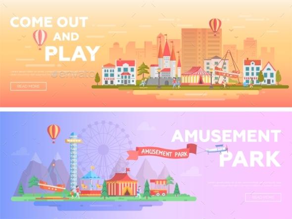 Amusement Park - Set of Modern Flat Vector - Web Elements Vectors
