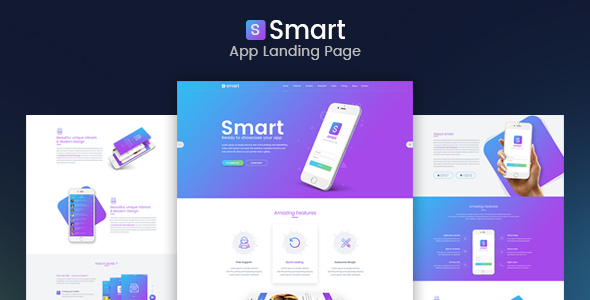 Download Smart - App Landing Page PSD Template            nulled nulled version