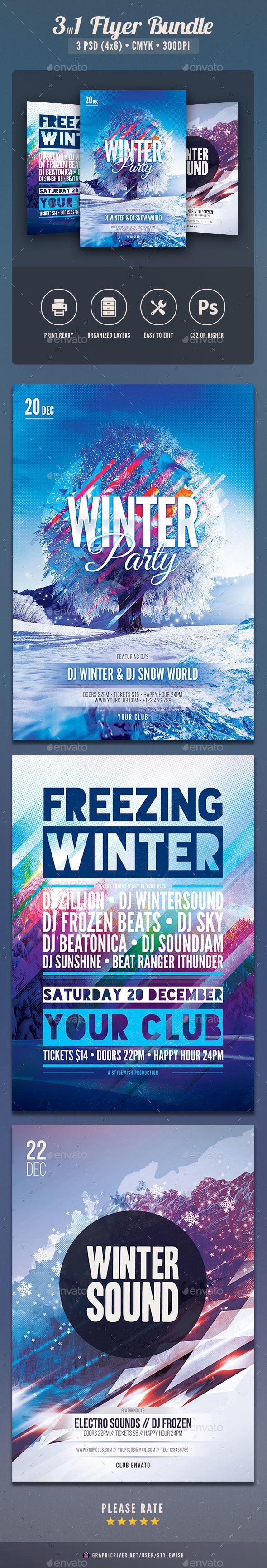 GraphicRiver Winter Flyer Bundle Vol.02 21047955