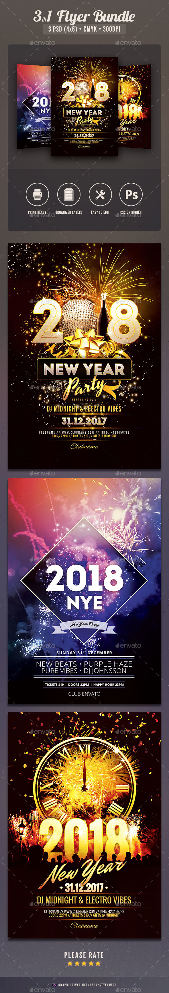 New Year Flyer Bundle Vol.09 - Clubs & Parties Events