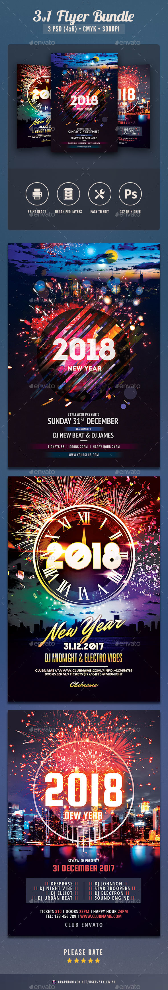 New Year Flyer Bundle Vol.10 - Clubs & Parties Events