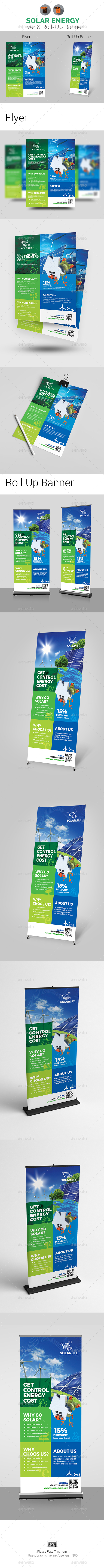 GraphicRiver Solar Energy Flyer & Rollup Banner Bundle 21048333
