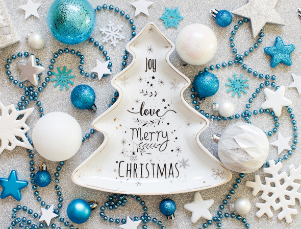 Turquoise blue and silver festive christmas decorations - Stock Photo - Images