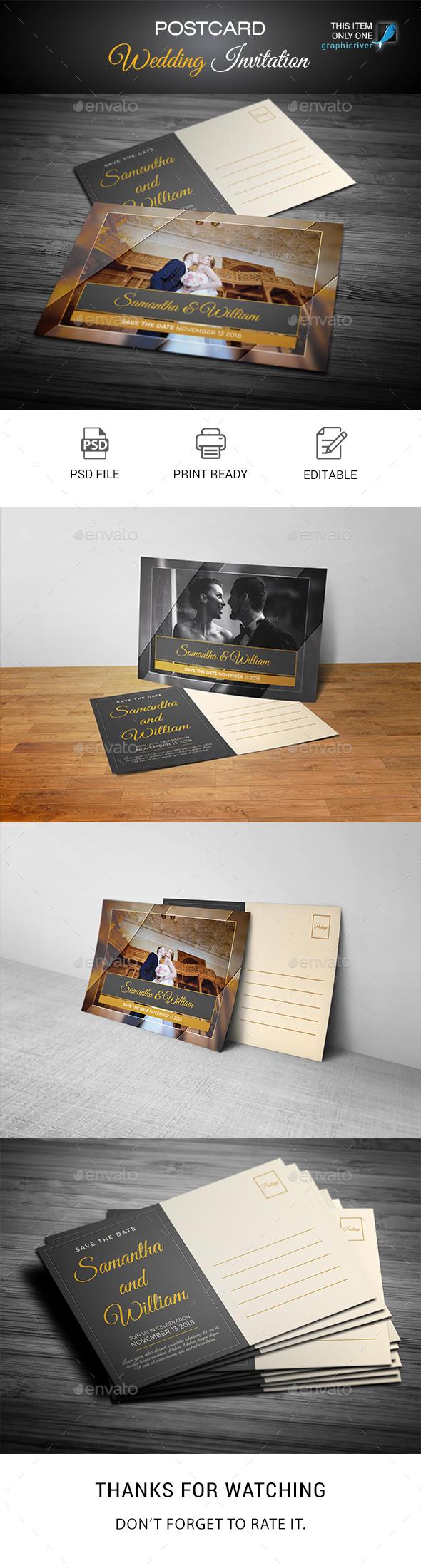 GraphicRiver Post Card Wedding Invitation Templates 21048610