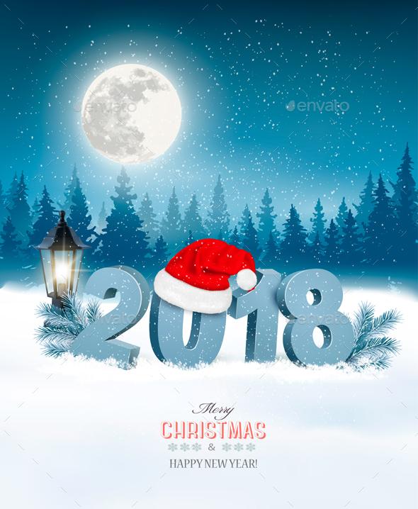 Christmas Holiday Background With Landscape and Santa Hat - Christmas Seasons/Holidays