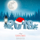 Christmas Holiday Background With Landscape and Santa Hat