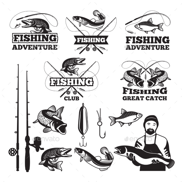Vintage Labels Set for Fishing Club - Sports/Activity Conceptual