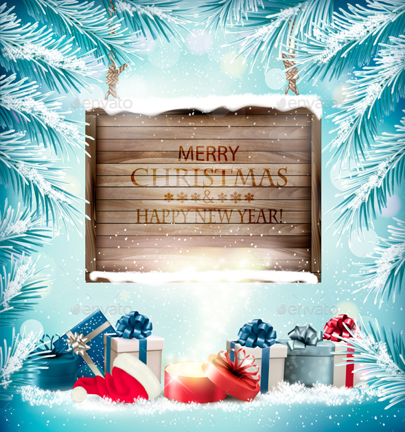 GraphicRiver Christmas Holiday Background With Presents and Magic Box 21048829