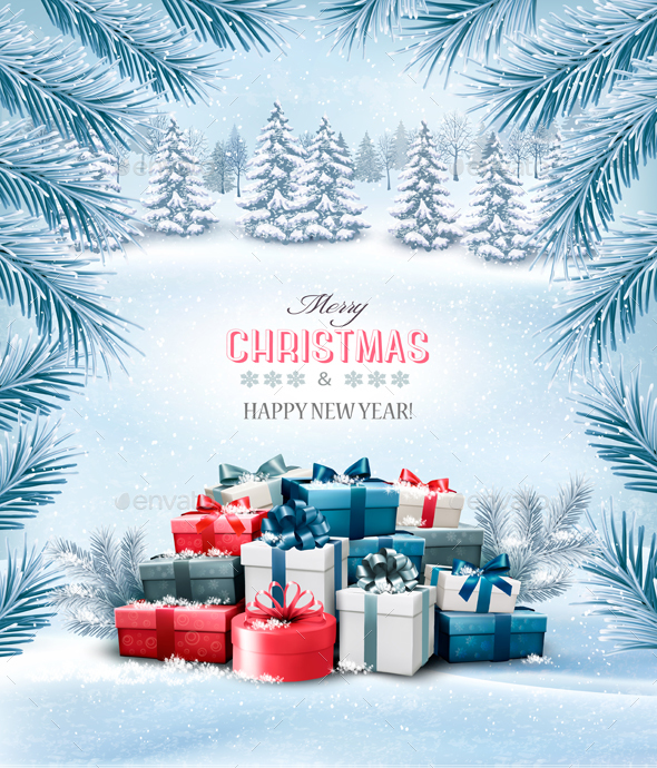 GraphicRiver Christmas Holiday Background and Presents 21048899