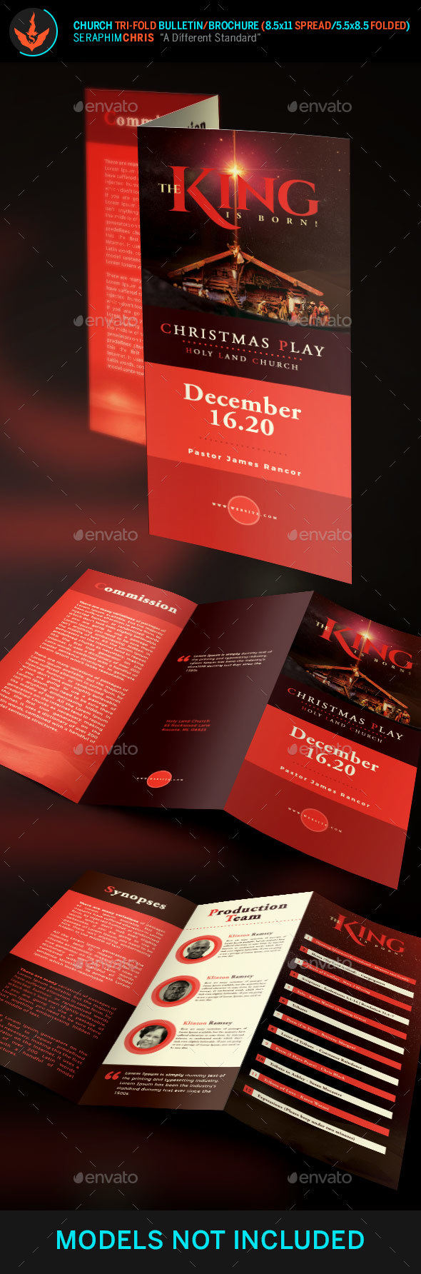The King Is Born Christmas Tri-Fold Brochure Template - Informational Brochures