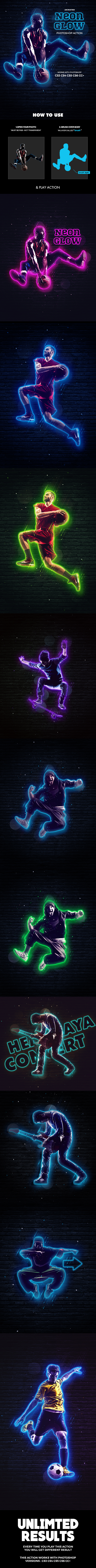 Neon Glow Photoshop Action - Animated - Photo Effects Actions