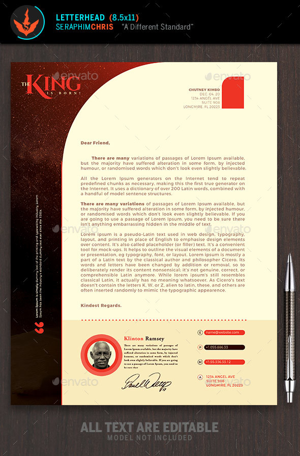 The King Is Born Church Letterhead Template - Stationery Print Templates