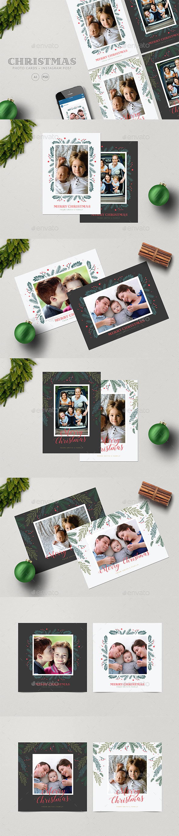 Christmas Photocard Set + Instagram Post - Holiday Greeting Cards