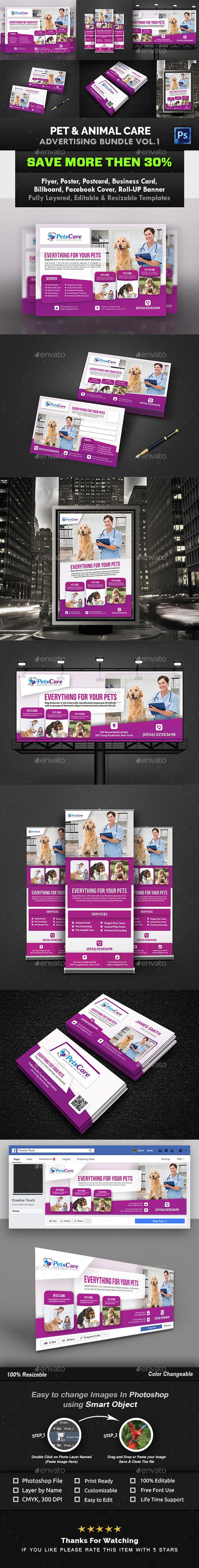 Pet Care Advertising Bundle Vol.1 - Signage Print Templates