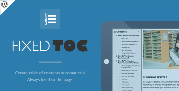 Fixed TOC - table of contents for WordPress plugin - CodeCanyon Item for Sale