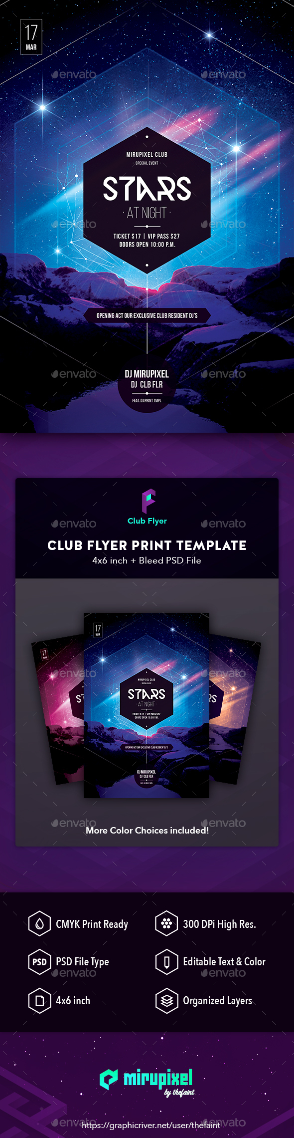GraphicRiver Club Flyer Stars at Night 21049357