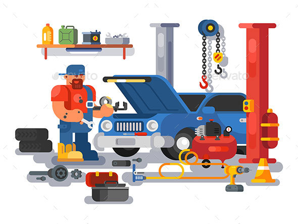 GraphicRiver Mechanic Worker Repairs Car in Garage 21049384